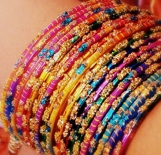 Assortment of very colorful bangles