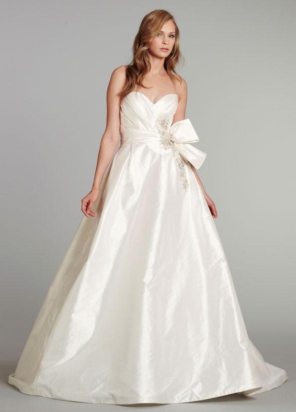 Tara Keely Bridal Tissue Taffeta Ball Gown Pleated Beaded Applique Bow Natural Waist Sweep Train