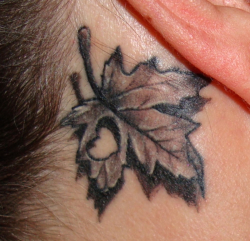 33 Stunning Behind The Ear Tattoos: 11 Canadian-maple-leaf Tatoo
