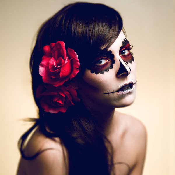 Day Of The Dead Half Face Paint Easy Day Of The Dead Makeup Half