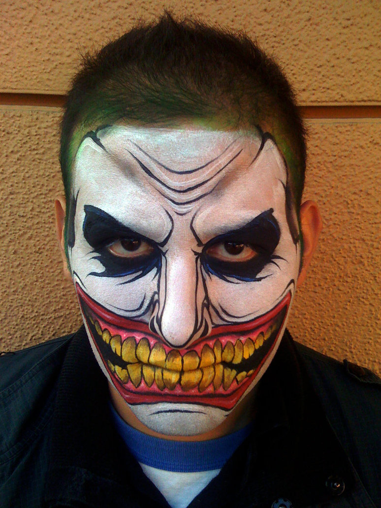 joker full face - Easy Scary Halloween Face Painting Ideas
