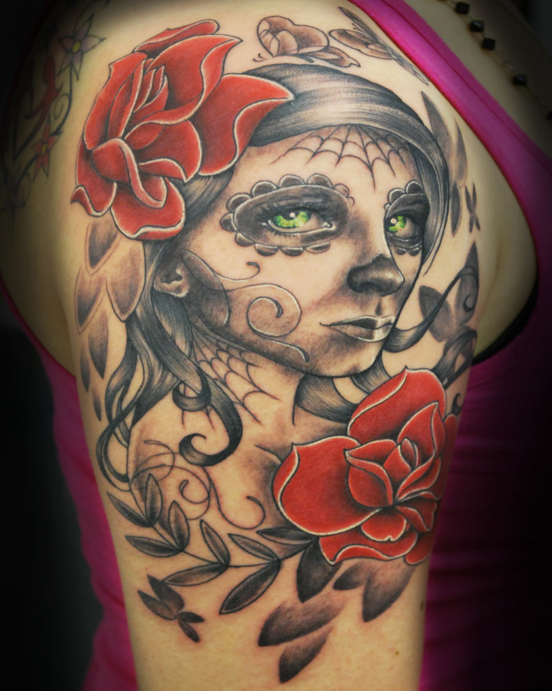 40 day of the dead tattoo designs for inspiration for Girl head tattoo