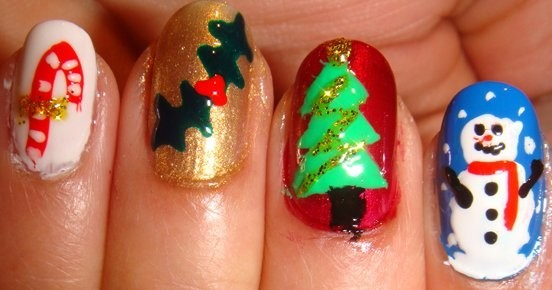 30 beautiful christmas nail art designs entertainmentmesh christmas jingle bells nails prinsesfo Image collections