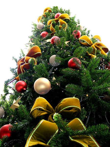 Yellow Bead Christmas Tree with Red & White Pearl Ornaments