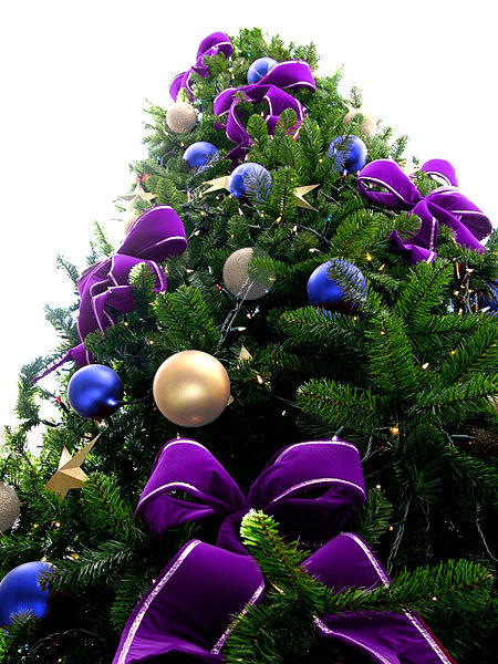 Violet Bead Christmas Tree with Blue/White & Silver Ornaments