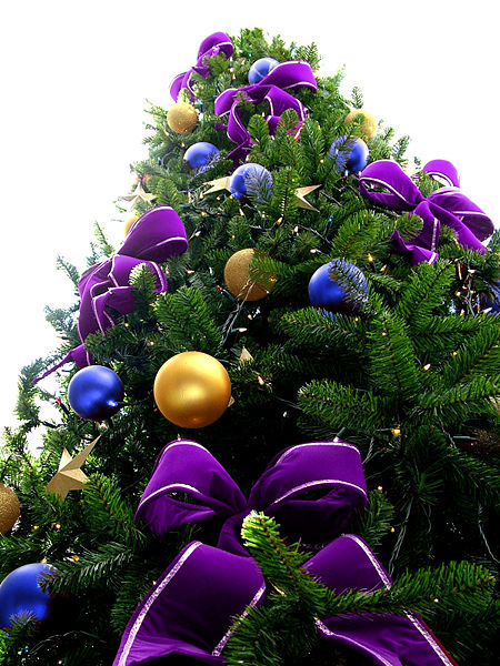 Violet Bead Christmas Tree with Blue & Gold Ornaments