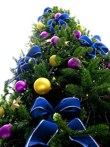 Blue Bead Christmas Tree with Purple & Yellow Ornaments