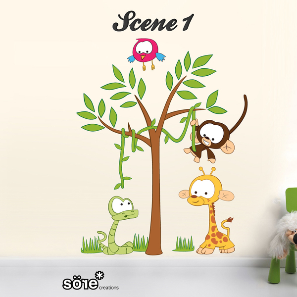 Baby Jungle Scene Wall Sticker