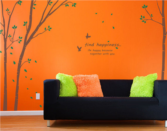 Find Happiness Tree With Birds Wall Sticker