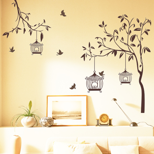 Happy Street Lights Birds with Tree Wall Sticker