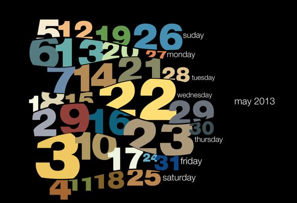 Typography calendar 2013