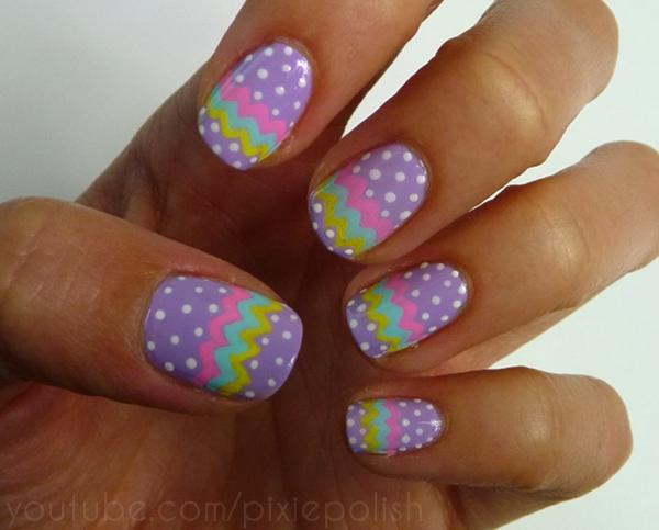 25 lovely and vintage polka dot nail art designs entertainmentmesh pastel chevron stripe and polka dot nail art prinsesfo Choice Image