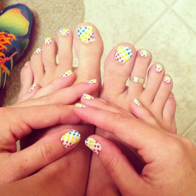 Toe Nail Art Polka Dots : Polka dot toe nail designs images