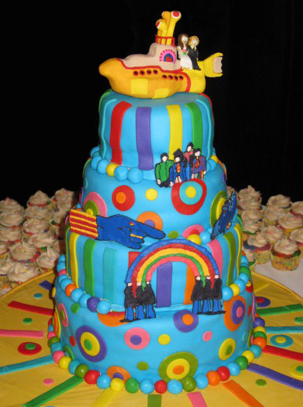 Beatles Yellow Submarine cake