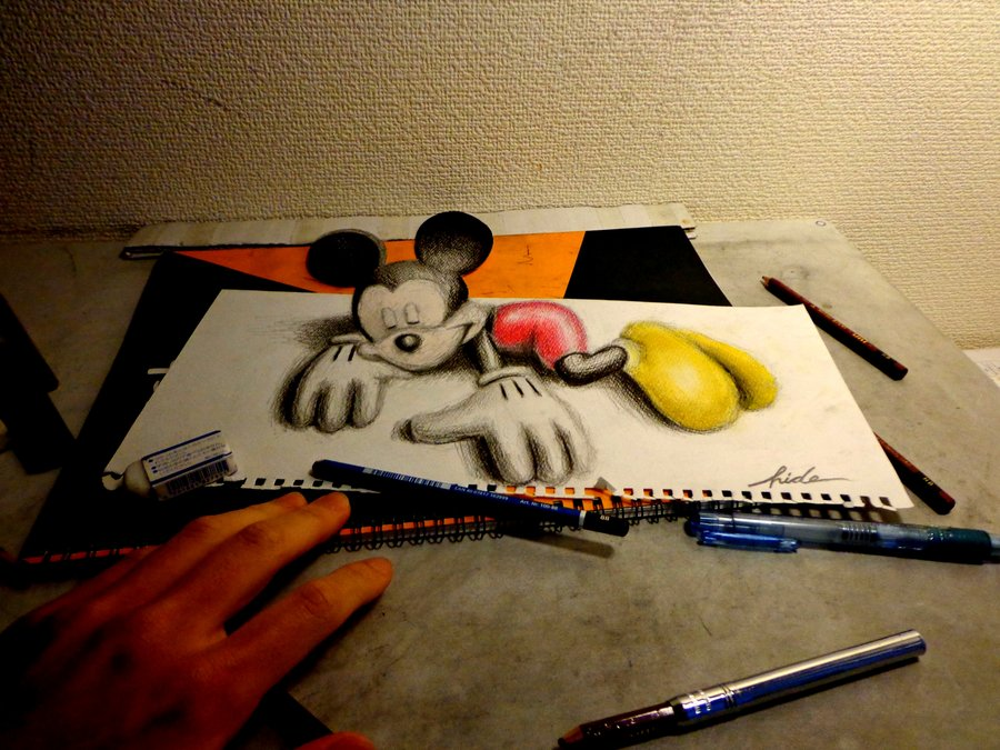 3d_drawing___3d_mickey_mouse_by_nagaihideyuki-d5p433s