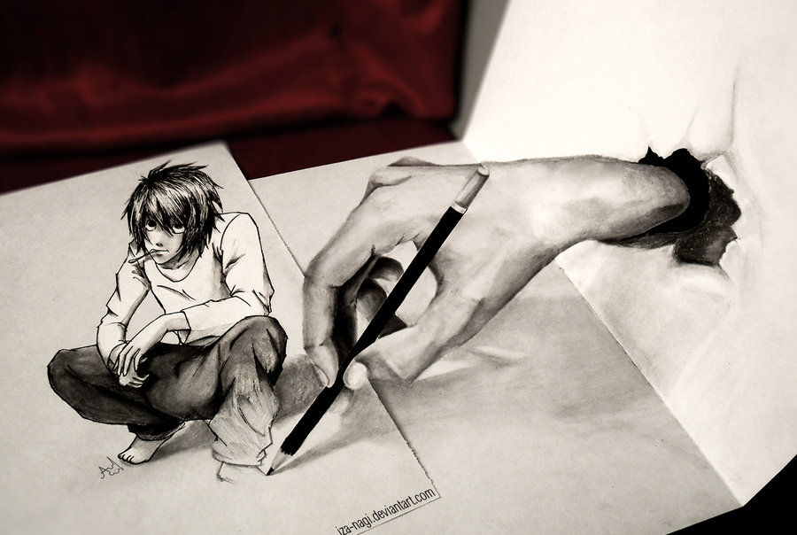* DRAWN TO LIFE - L Lawliet 3D DRAWING - *