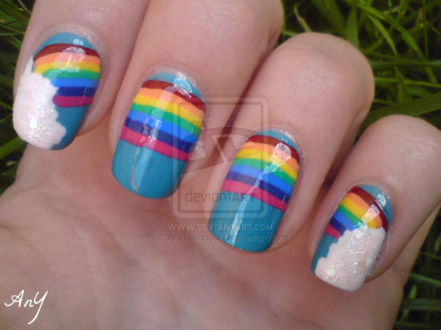 Huge Rainbow Nail Design