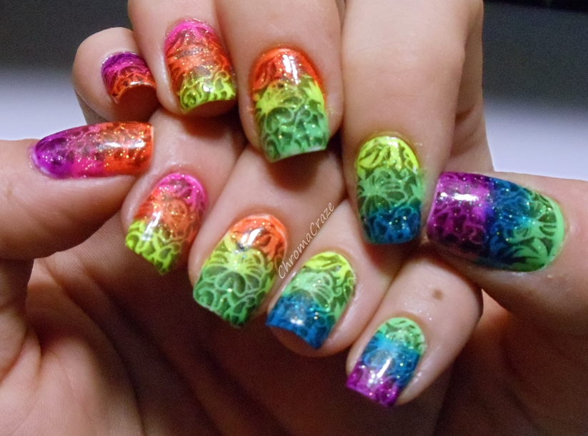 Neon Rainbow Gradient with Stamping