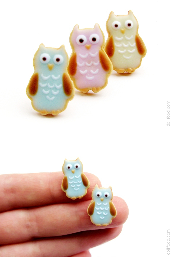 Owl Glazed Cookies Earrings Post