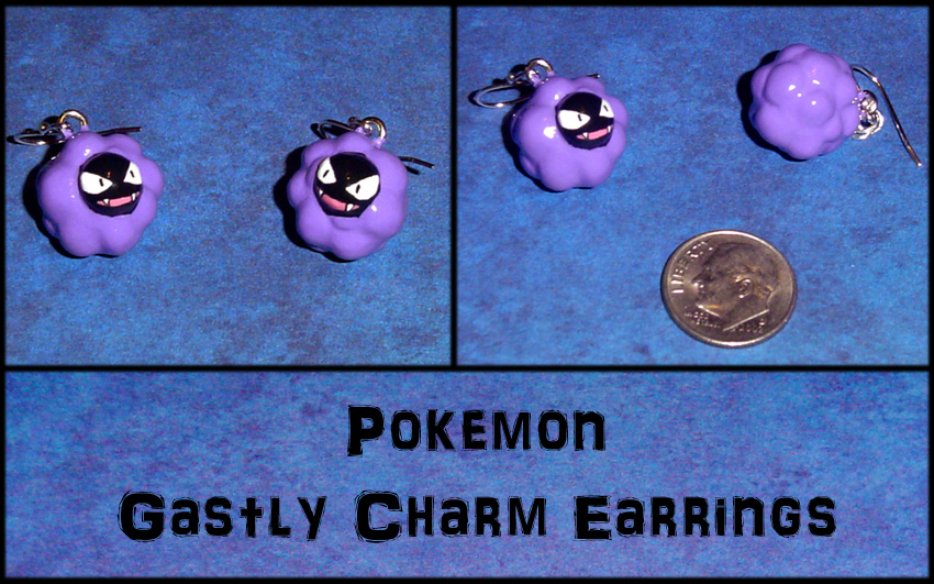 Pokemon Gastly Charm Earrings