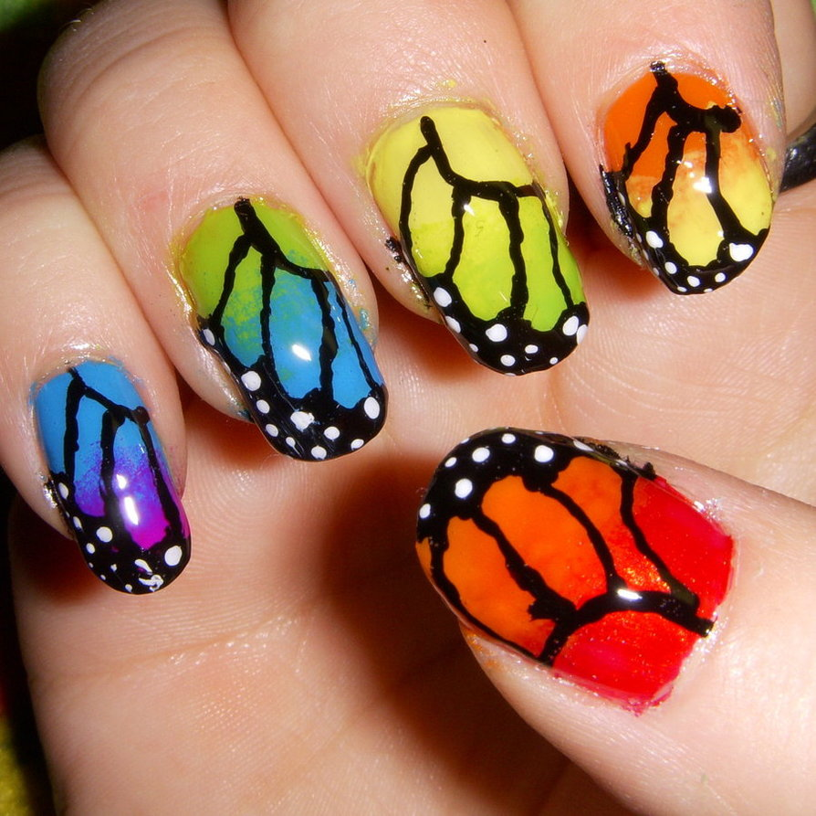 30+ Pretty Cool Rainbow Nail Art Designs | EntertainmentMesh