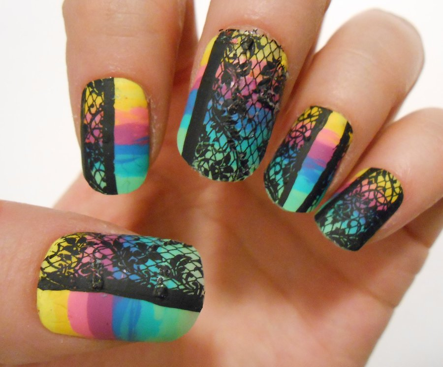 rainbow lace nails