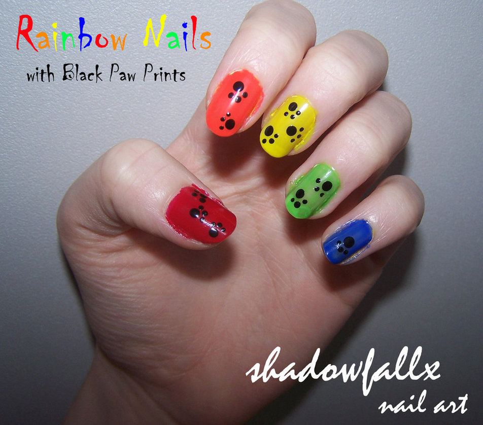 Rainbow Paw Print Nails