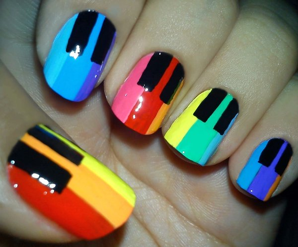 Rainbow Piano Nails