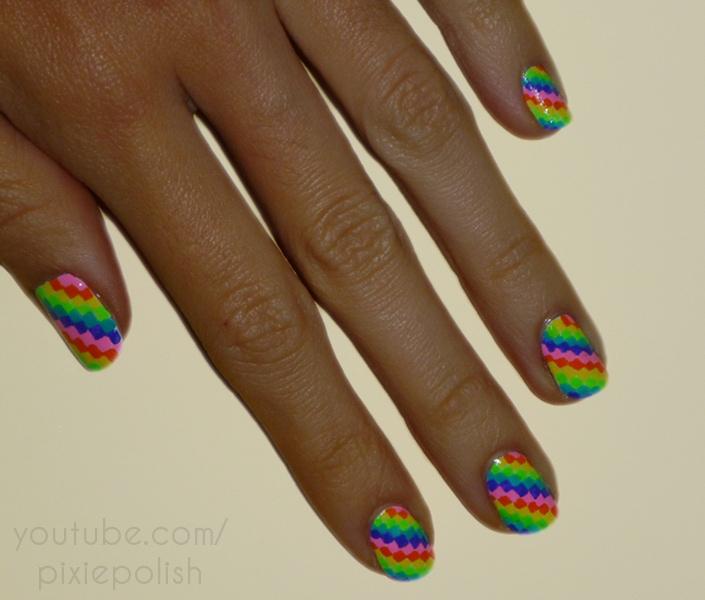Rainbow Pixel Nail Art