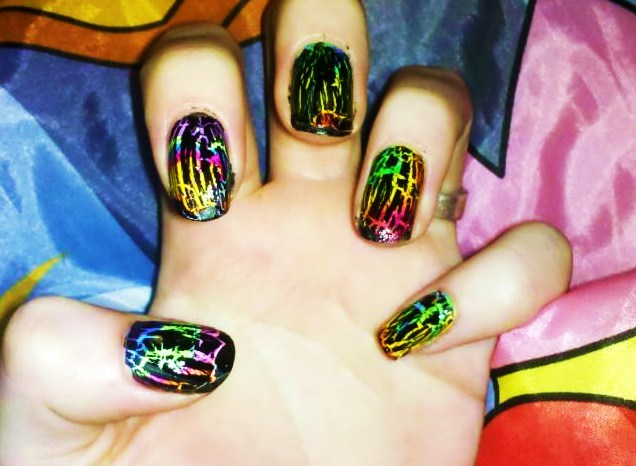 Rainbow Shatter Nails