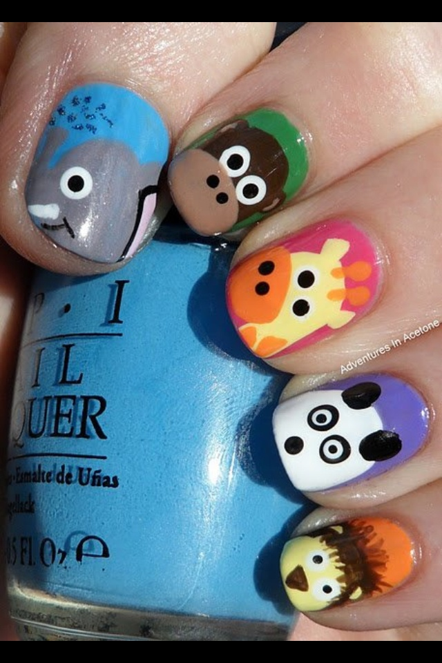 Super cute Animal nail art!