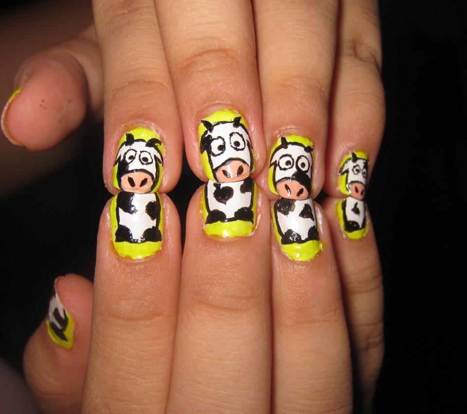 Cow Nail Art Design