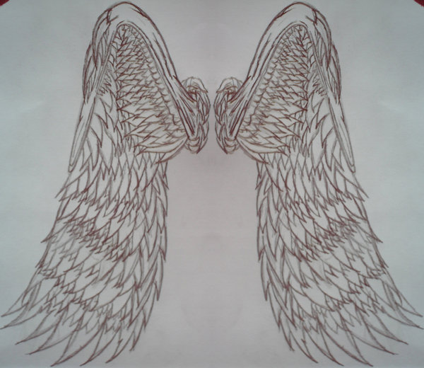 Angel wing Back piece tattoo