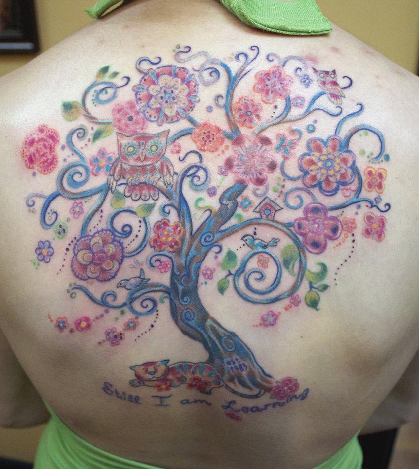 Pretty Tree Back Tattoo