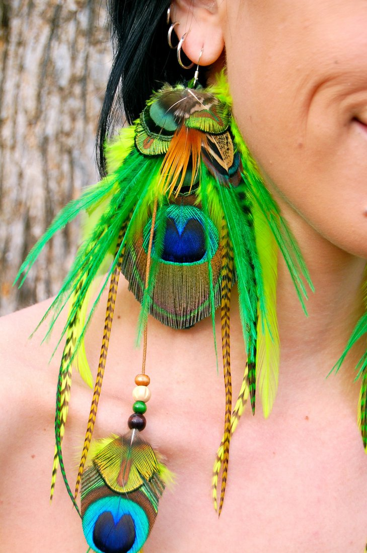 Green Peacock Feather Earrings