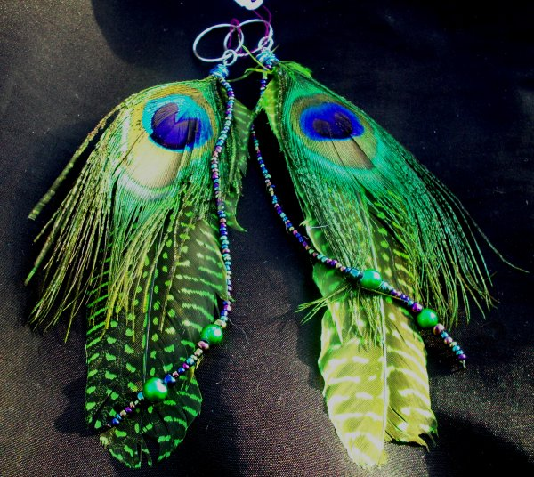 Peacock with Iridescent Glass Bead Dangles Earrings