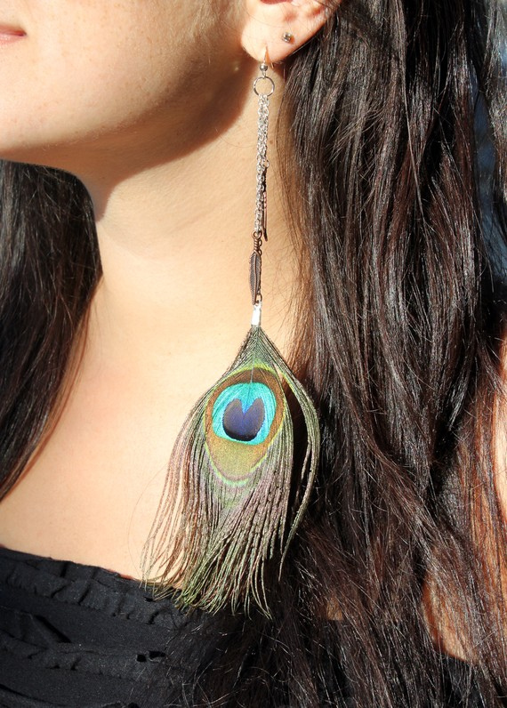 long chain peacock feather earrings