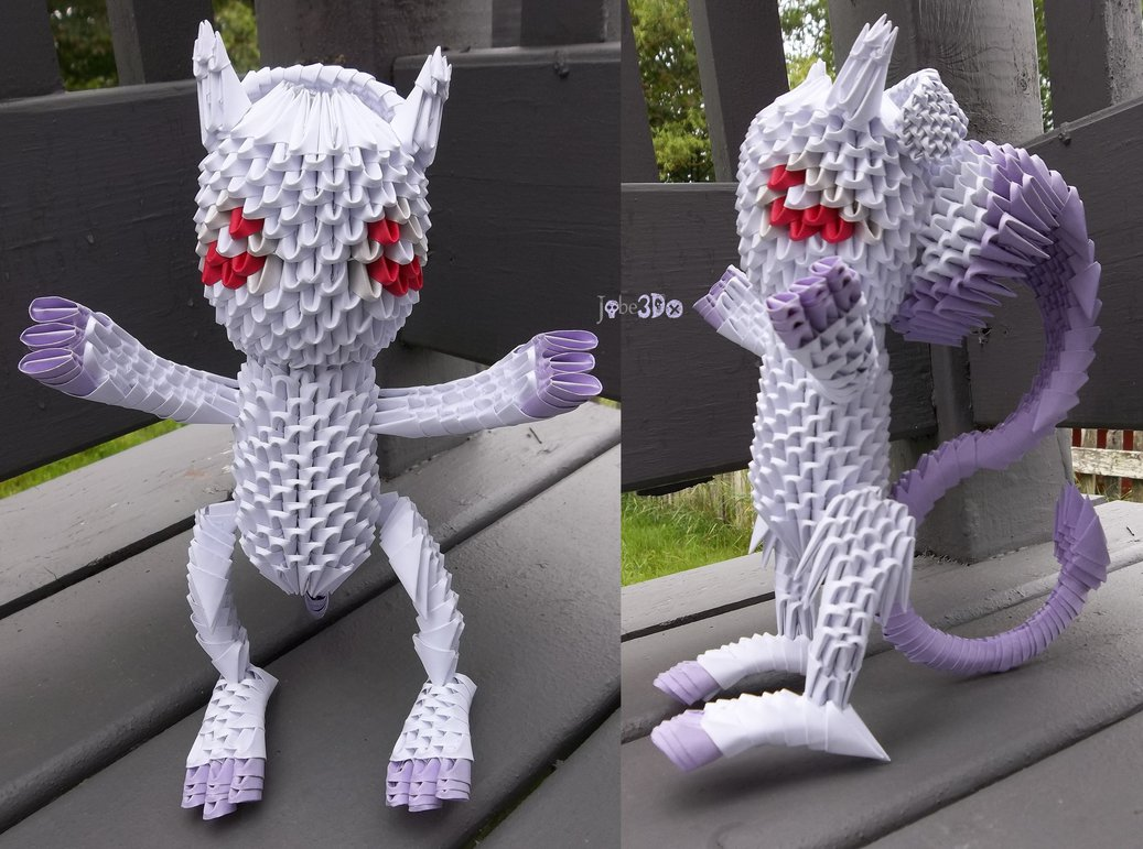 3D Origami - Mewtwo