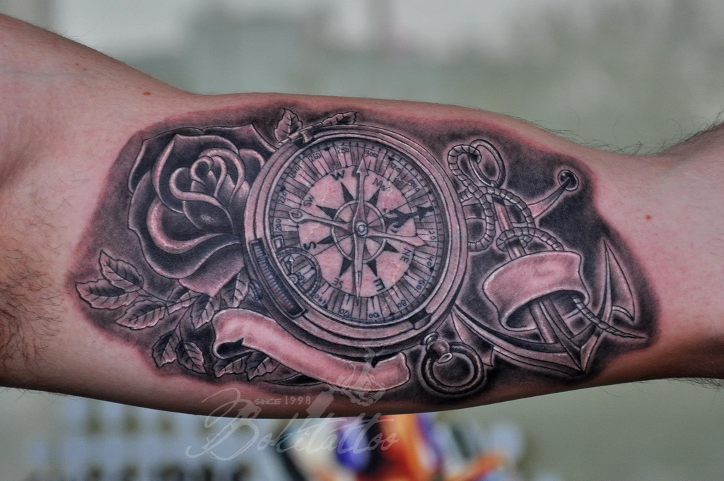 compass and anchor tattoo