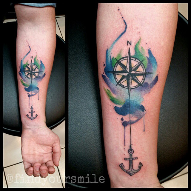 water color anchor compass tattoo