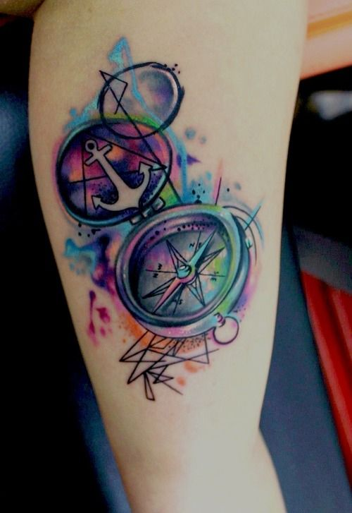 watercolor compass and anchor tattoo