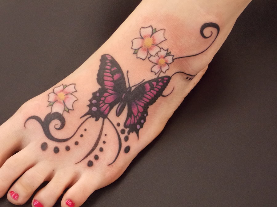 butterfly on the foot