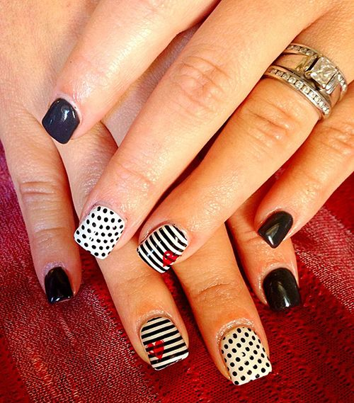 14 black and white nails