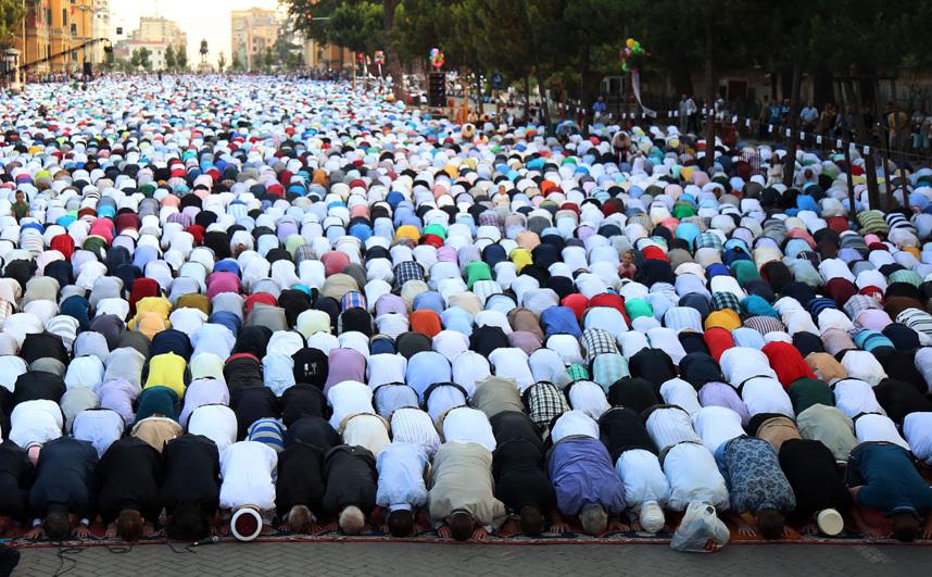 Eid Al Fitr Prayers Tirana's main boulevard Albanian
