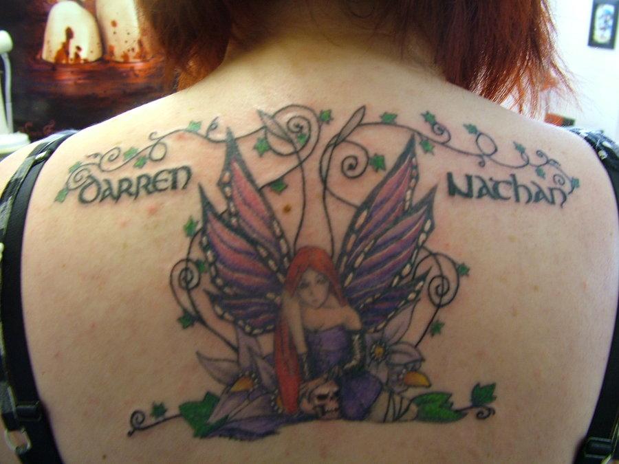 Gothy fairy tattoo back piece