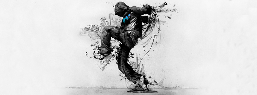 cool dance drawing facebook cover photo