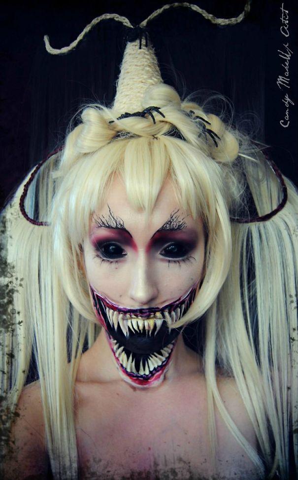 creepy demon face makeup