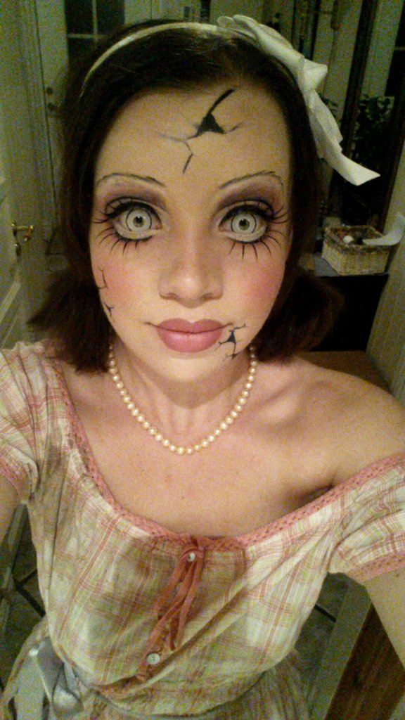 creepy doll face makeup