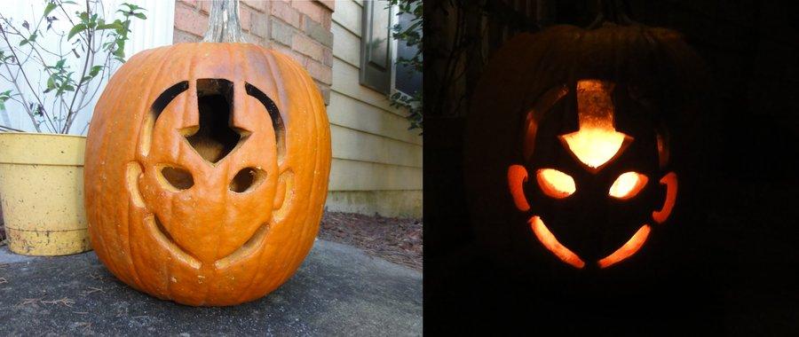 easy aang pumpkin for halloween