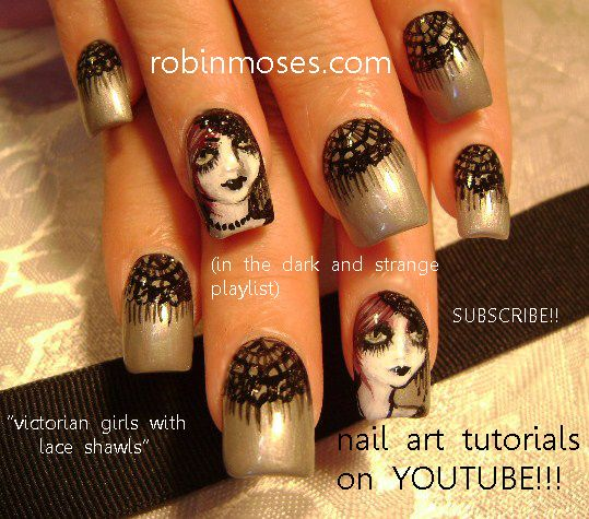 gothic girl halloween nails
